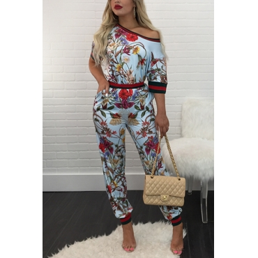 Stylish Round Neck Short Sleeves Printed Patchwork Blue Knitting Two-piece Pants Set