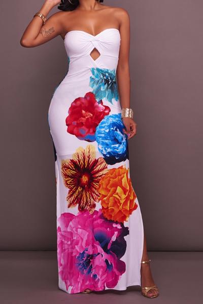 Стильная роса плеча Цветочная печать Белое полиэфирное платье для лодыжки