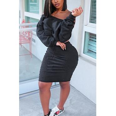 Stylish Dew Shoulder Long Sleeves Black Cotton Blend Two-piece Skirt Set