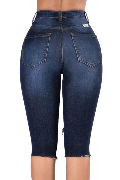 Pantaloncini blu scuro in denim scuro