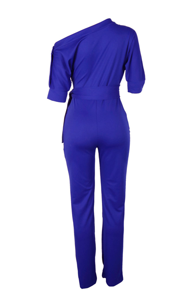 Stylish One-shoulder Blue Polyester One-piece Jumpsuits(With Belt)