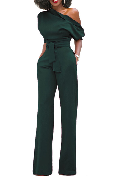 Stylish One-shoulder Army Green Polyester One-piece Jumpsuits(With Belt)