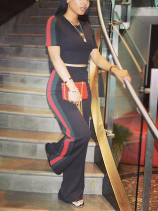 Set Di Pantaloni In Due Pezzi In Poliestere Nero Con Patchwork Rotondo Elegante