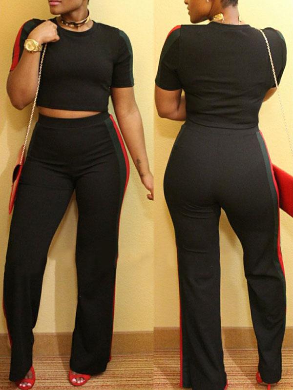 Stylish Round Neck Patchwork Black Polyester Two-piece Pants Set