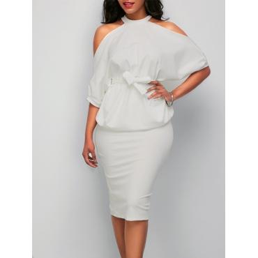 Стильный Круглый Шеи Половина Рукава Полые-из белой здоровой ткани оболочки колен платье