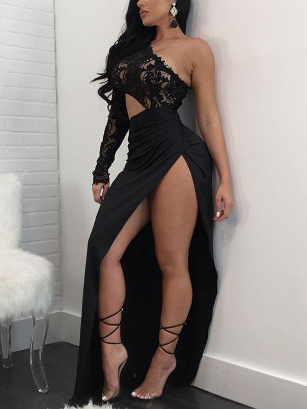 Lovely Sexy Bateau Neck One Shoulder Long Sleeve Sheath Ankle Length Dresses