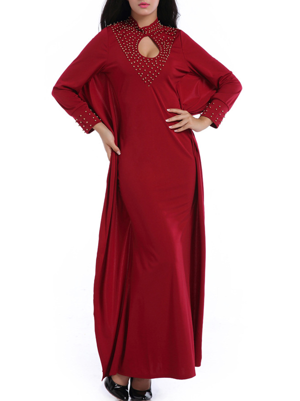 trendy round neck long sleeves hollow out wine red cotton blend sheath ankle length dress. Black Bedroom Furniture Sets. Home Design Ideas