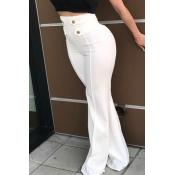 Euramerican High Waist Zipper Design White Polyester Pants