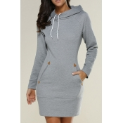 Leisure Hooded Neck Gray Cotton Long Hoodies