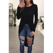 Leisure Round Neck Long Sleeves Asymmetrical Black Blending T-shirt