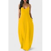 Casaco V Casual Vestido Assimétrico De Comprimento Amarelo