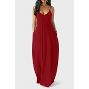 Casual V Neck Asymmetrical Wine Red Mélange de robe de longueur au sol