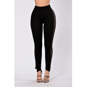 Stylish Hollow-out Black Cotton Blends Leggings