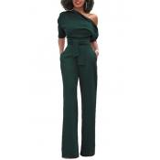 Elegante um ombro Exército verde poliéster de uma peça Jumpsuits (com cinto)