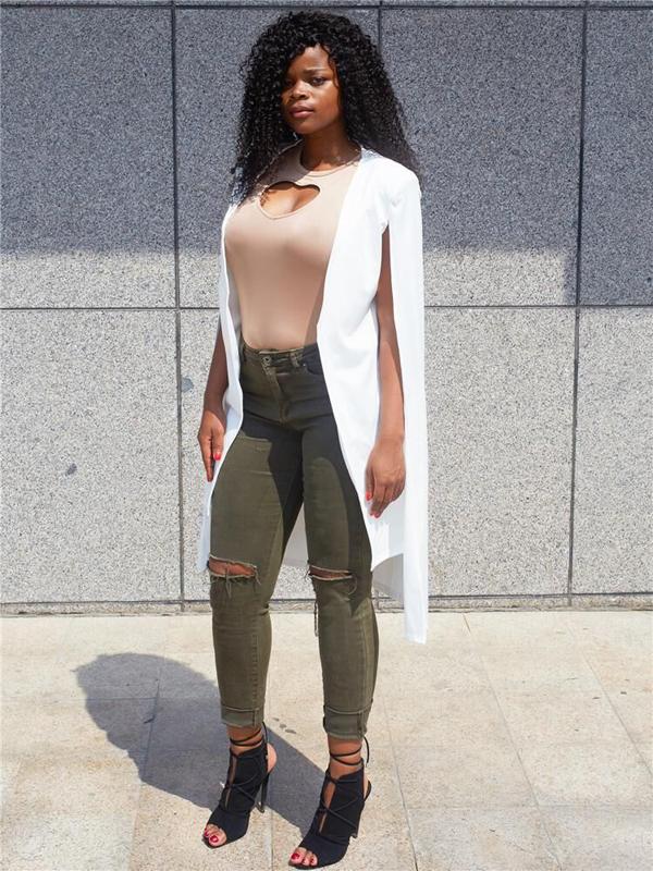 moda de manga larga diseño manto capa de tejido sano blanco