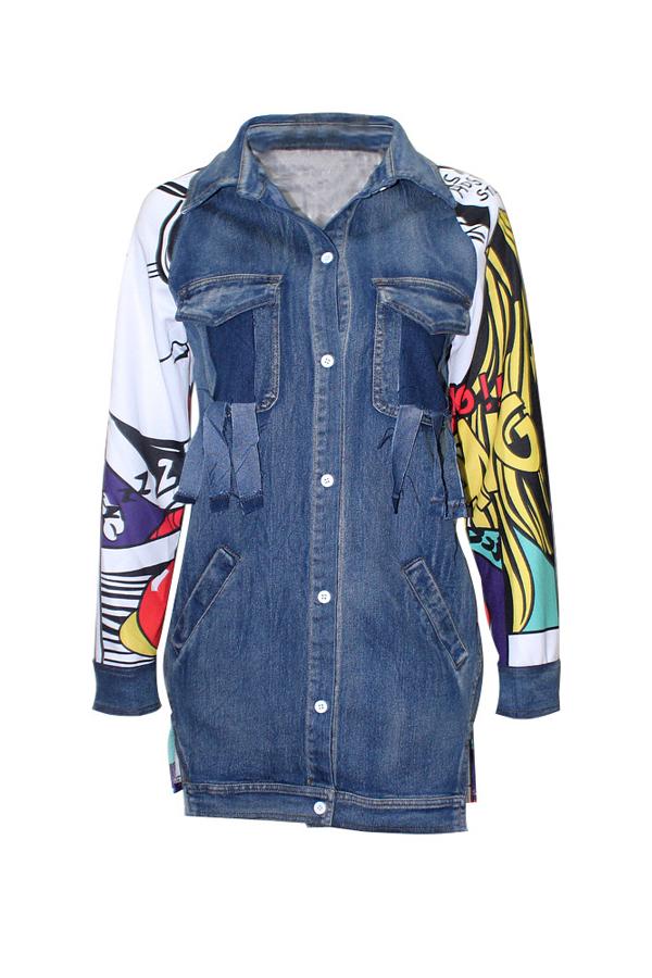 Trendy Turndown Collar Long Sleeves Printed Patchwork Blue Denim Long Coat