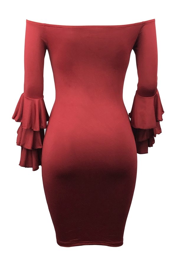 Stylish Dew Shoulder Long Sleeves Falbala Design Wine Red Polyester Sheath Knee Length Dress
