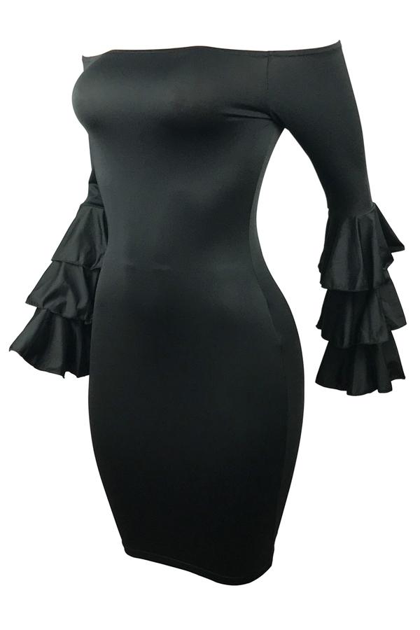 Стильное плечо плеча с длинными рукавами Falbala дизайн черный полиэстер оболочка колено платье