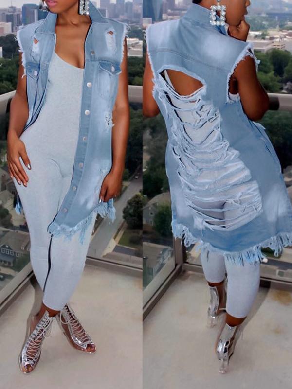 Модный откидной ошейник Сломанные отверстия Синий джинсовой длинный пальто