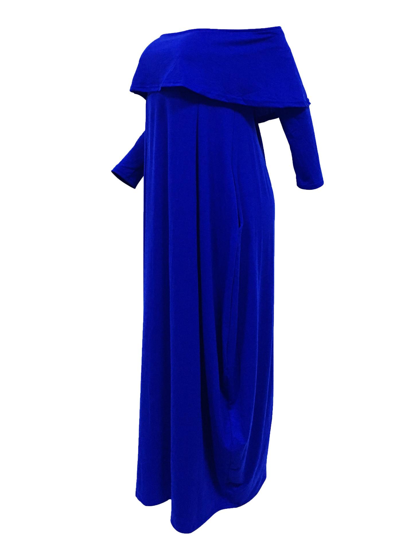 Fashion Dew Shoulder Falbala Design Grey-green Cotton Blend Ankle Length Dress