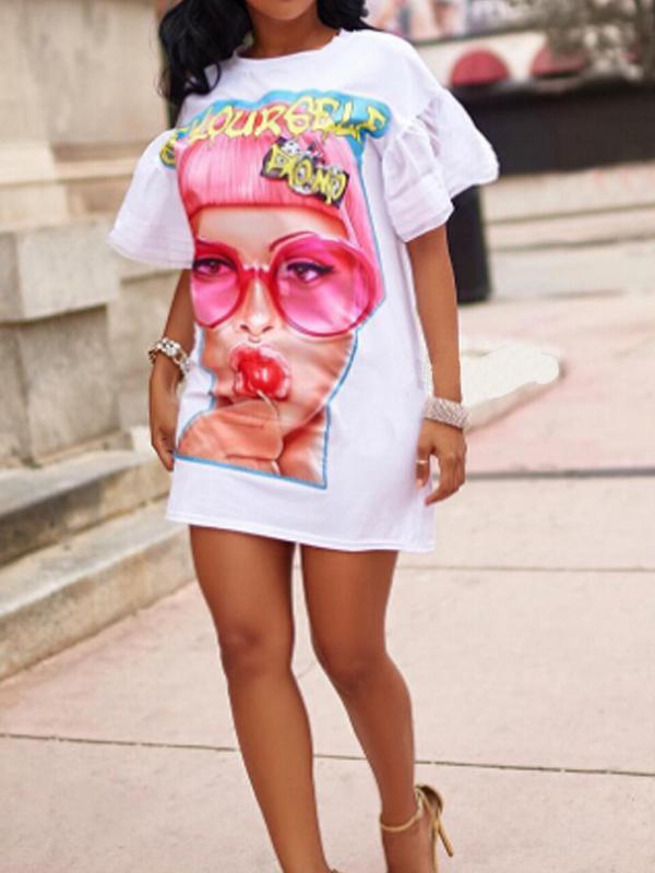 Euramerican Round Neck Printed White Polyester Mini Dress