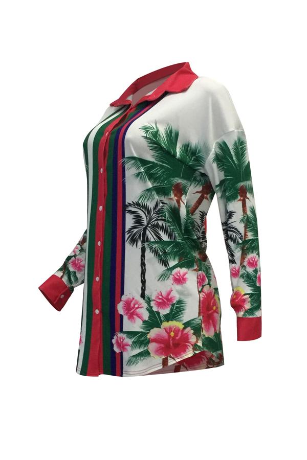 Euramerican Turndown Collar Floral Print Mini vestido de poliéster branco (sem cinto)