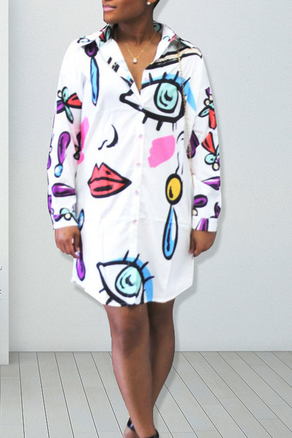 Trendy Turndown Collar Printed White Polyester Knee Length Dress