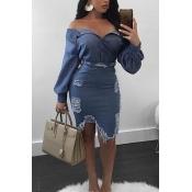 Fashion Hollow-out Denim Skirt