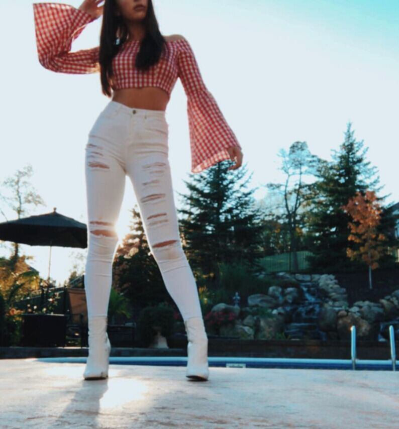 Moda Cintura Alta Agujeros Rotos Pantalones Vaqueros Pitillo Denim Blanco