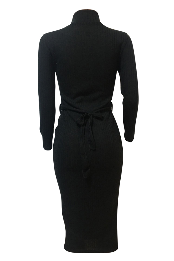 Euramerican Long Sleeves Black Polyester Sheath Mid Calf Dress