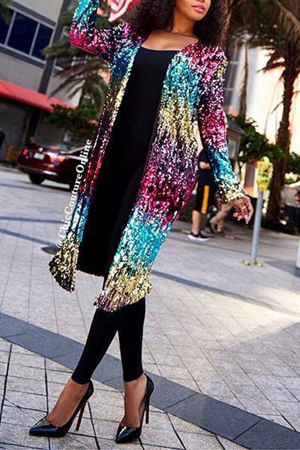 Stylish V Neck Long Sleeves Sequined Decorative Polyester Long Coat
