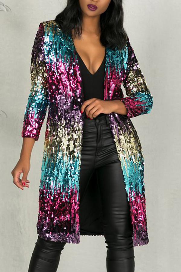 Stylish V Neck Long Sleeves Sequined Decorative Polyester Long Coat