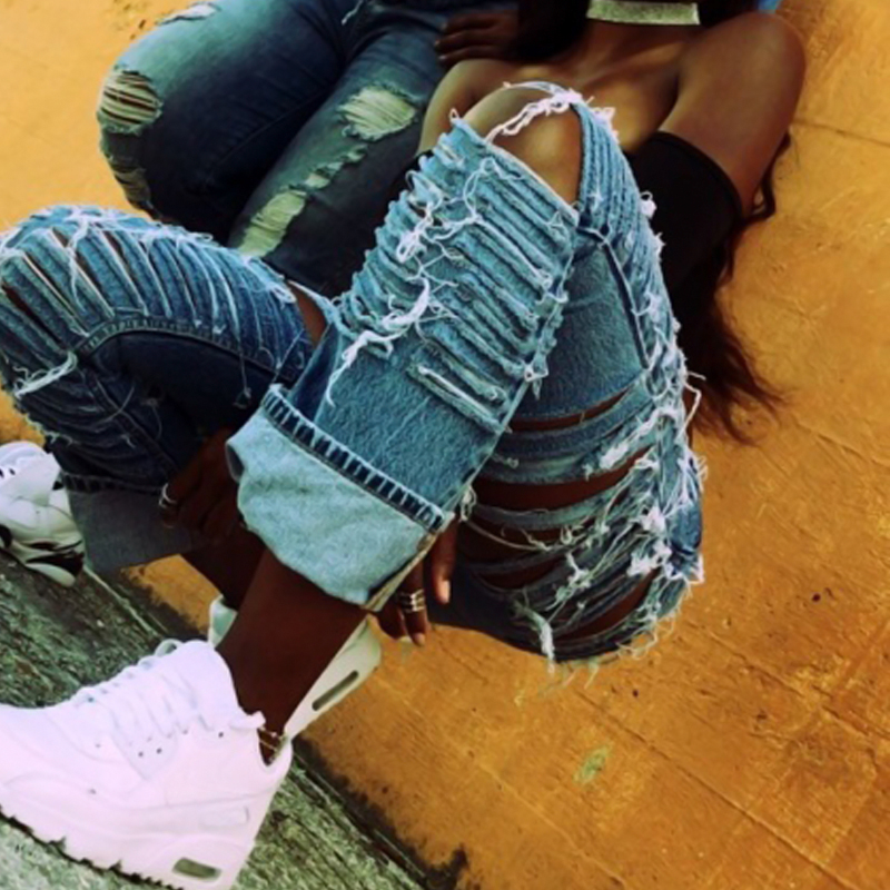 Stylish High Waist Broken Holes Light Blue Denim Pants