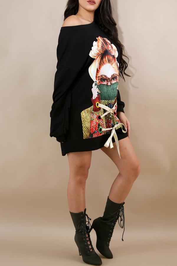 Maniche lunghe rotonda con collo lungo collo vestito mini abito in poliestere nero stampato