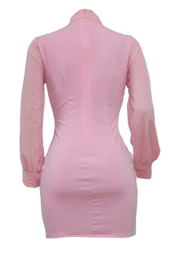 Trendy Round Neck Lace-up Pink Polyester Sheath Mini Dress