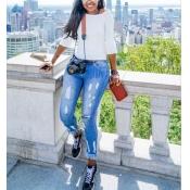 Elegante e alto cintura Tassel Design Blue Denim Pants