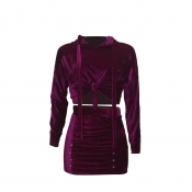 Stylish Turndown Collar Long Sleeves Patchwork Purple Polyester Two-piece Skirt Set