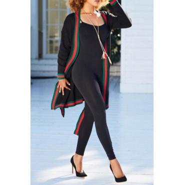 Leisure V Neck Printed Patchwork Black Polyester Long Coat