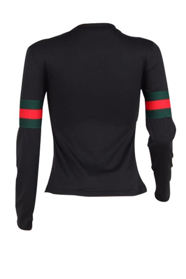 Ocio Cuello Redondo Rayas Remiendo Camiseta De Algodón Negro
