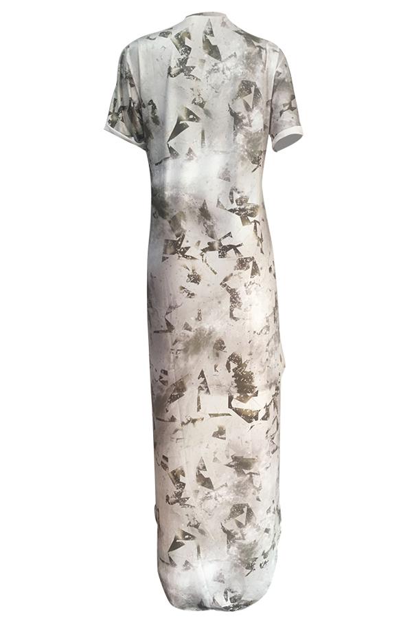Trendy gedruckt asymmetrische Milchfaser knöchellangen Kleid