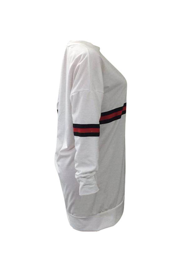 Vestido Casual De Mezcla De Algodón Y Fibra De Leche Blanca Con Cuello Redondo A Rayas