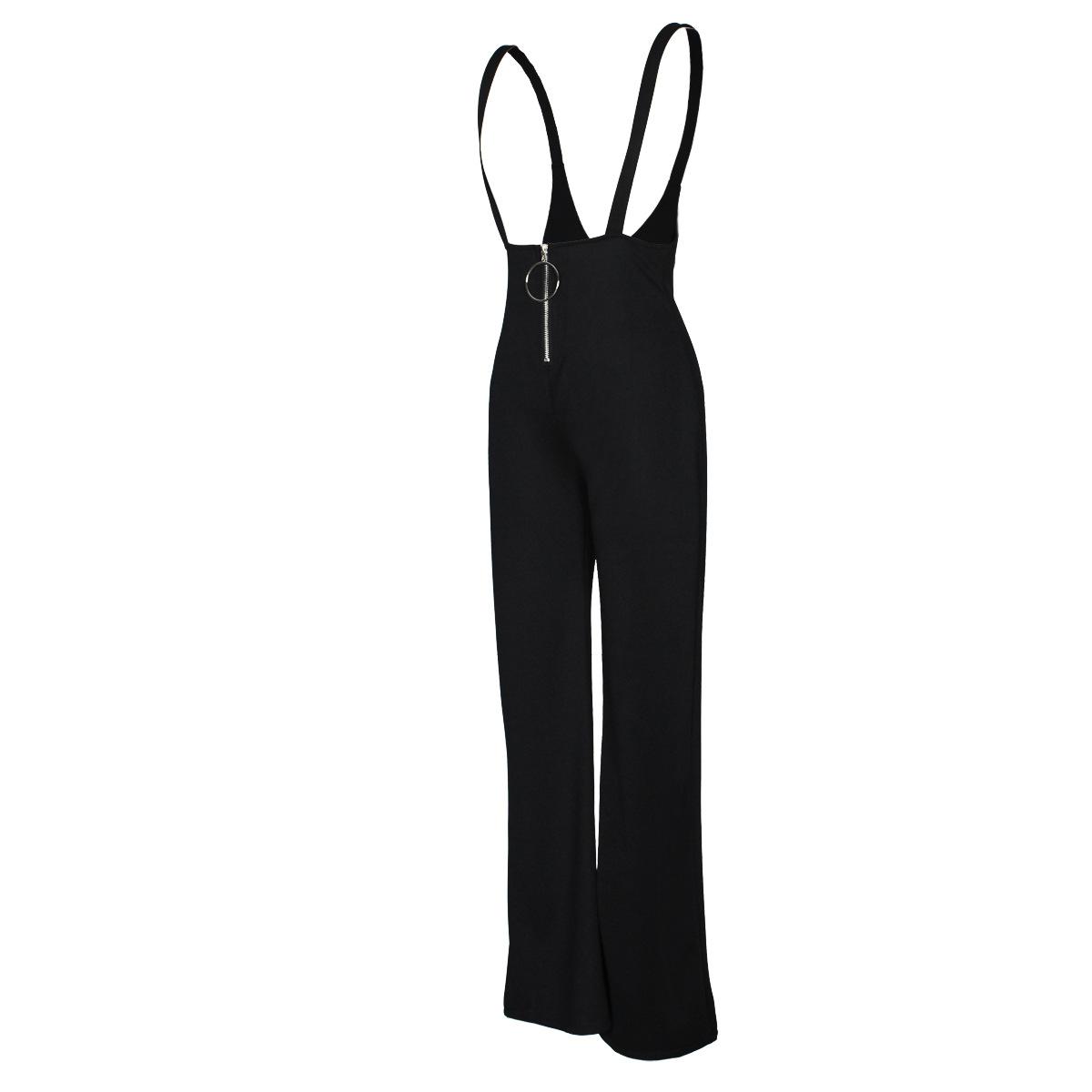 Sexy High Waist Zipper Design Calças Pretas De Poliéster Suspenso