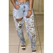 Fashion Hollow-out Denim Pants