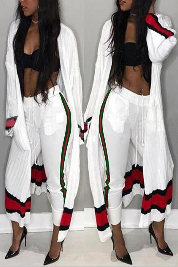 Euramerican Striped Patchwork White Polyester Two-piece Pants Set( Without Bra)