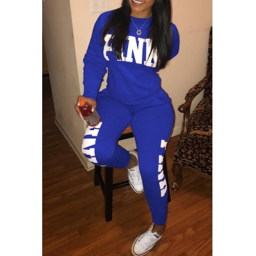 Casual Round Neck Letters Printed Blue Polyester Two-piece Pants Set