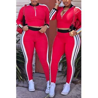 Lovely Casual V Neck Striped Red Blending Two-Piece Pants Set