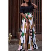 Fashion High Split Printed Maxi Skirt