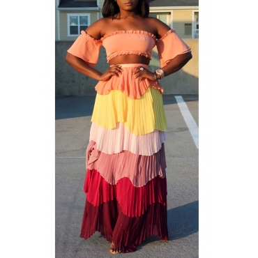 Lovely Pretty Bateau Neck Layered Patchwork Chiffon Two-piece Skirt Set