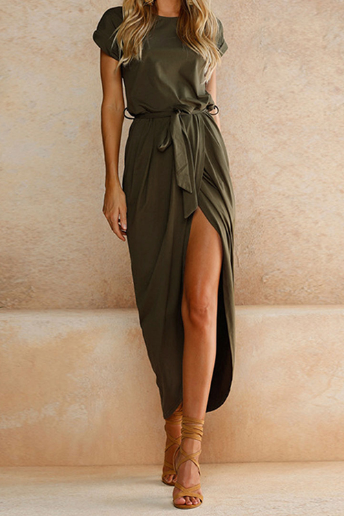 After Midnight Green Casual Maxi Dress