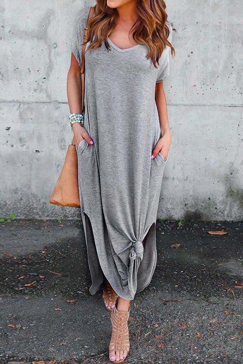 Moda Me Vea Bolsillo Maxi Vestido Casual